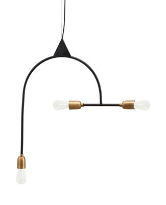 Lighting - Pendant Lighting - Arch Pendant - / H 66.5 cm - 3 sockets by House Doctor - Black / Brass sockets - Brass, Iron