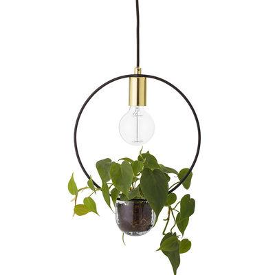 Lighting - Pendant Lighting - Pendant - / With flowerpot - Ø 30 by Bloomingville - Round / Gold & black - Glass, Metal
