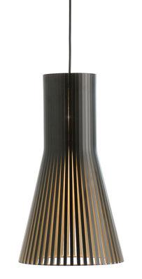 Lighting - Pendant Lighting - Secto S Pendant - / Ø 25 cm by Secto Design - Black / Black cable - Laminated birch slats, Textile