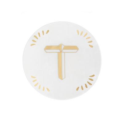 Tavola - Piatti  - Piatto per dolcetti Lettering - Ø 12 cm / Lettera T di Bitossi Home - Lettera T / Or - Porcellana