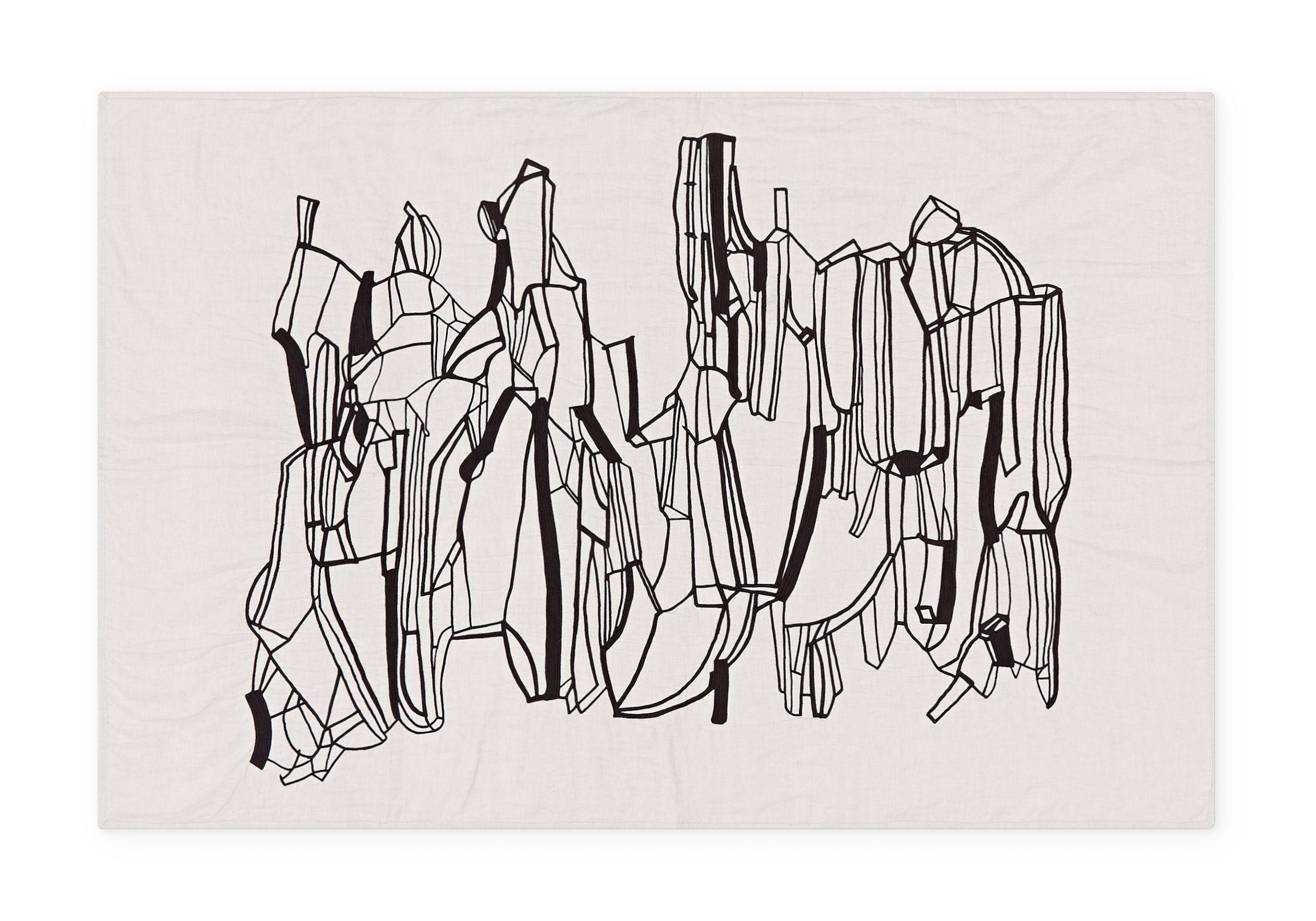 Decoration - Bedding & Bath Towels - Geo Plaid - / Plaid - 130 × 200 cm by Tom Dixon - Black & White - Cotton, Linen
