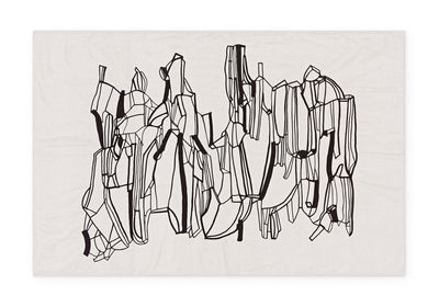 Dekoration - Wohntextilien - Geo Plaid / Decke - 130 x 200 cm - Tom Dixon - Schwarz & weiß - Baumwolle, Leinen