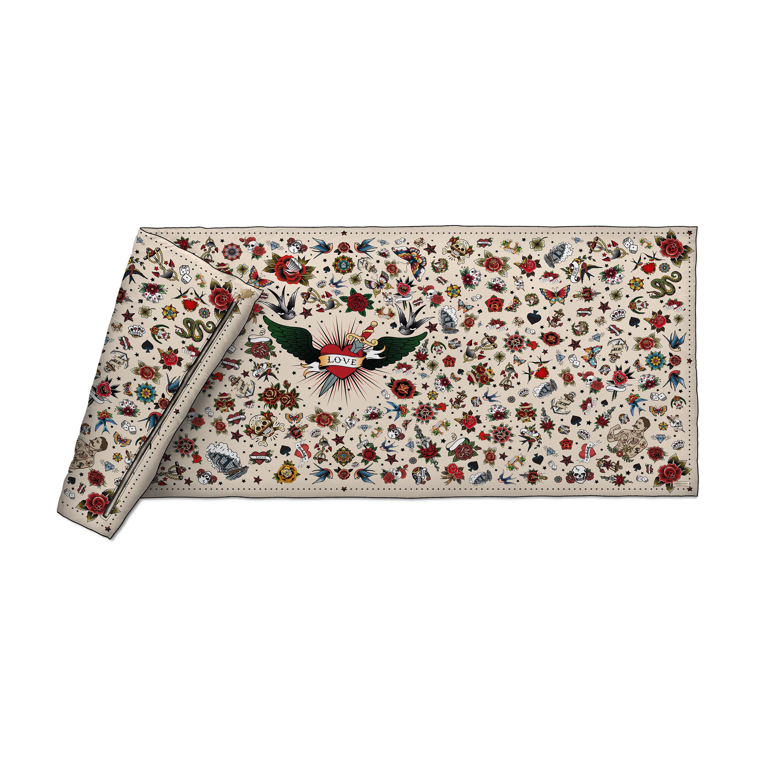 Decoration - Bedding & Bath Towels - Tatoo Plaid - / Velvet - 85 x 200 cm by PÔDEVACHE - Love Tattoo / Beige - Fabric, Polyester, Velvet