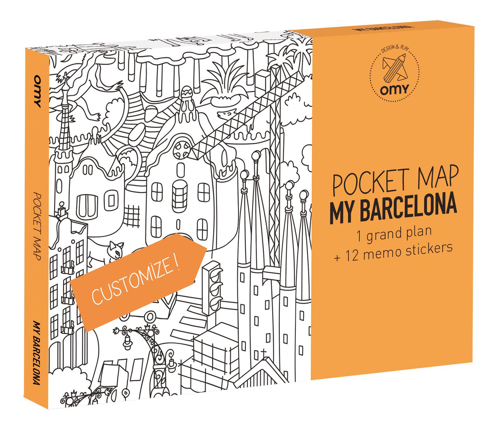 Déco - Pour les enfants - Poster à colorier Pocket Map - Barcelone / 52 x 38 cm - OMY Design & Play - Barcelone - Papier