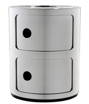Mobilier - Meubles de rangement - Rangement Componibili / 2 tiroirs - Métallisé - Kartell - Chromé - ABS