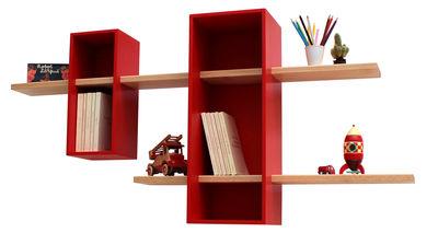 Arredamento - Scaffali e librerie - Scaffale Max - / Doppia - 2 scomparti + 2 mensole di Compagnie - Rosso - Faggio massello, MDF tinto