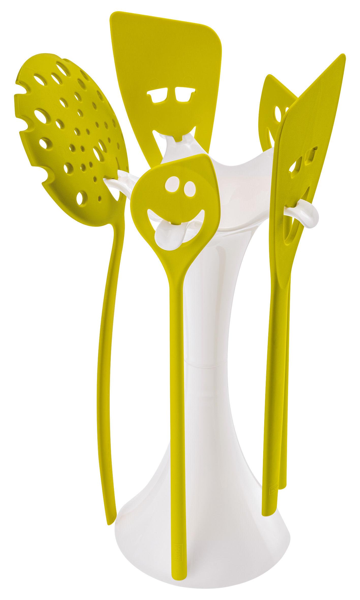 Cuisine - La cuisine s'amuse - Set ustensiles de cuisine Meeting point / 5 pièces + support - Koziol - Blanc opaque / vert moutarde - PMMA
