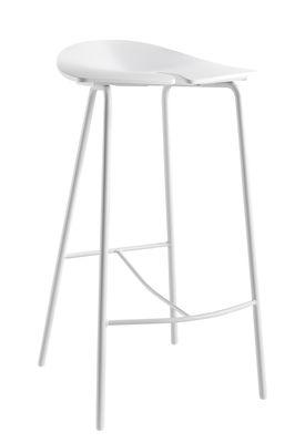 Image of Sgabello da bar Ant / H 68 cm - Plastica & piedi metallo - Ondarreta - Bianco - Metallo/Materiale plastico