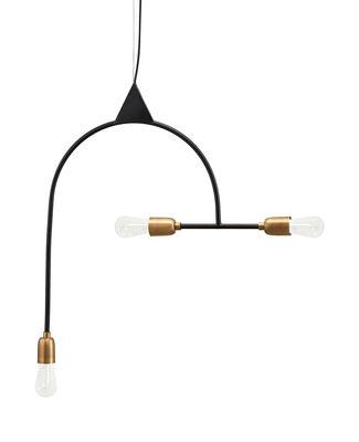 Illuminazione - Lampadari - Sospensione Arch - / H 66,5 cm - 3 portalampadine di House Doctor - Nero / Portalampadine ottone - Ferro, Ottone
