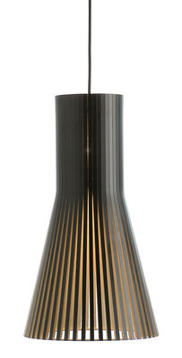 Illuminazione - Lampadari - Sospensione Secto S - / Ø 25 cm di Secto Design - Nero / Cavo nero - Doghe in laminato di betulla, Tessuto