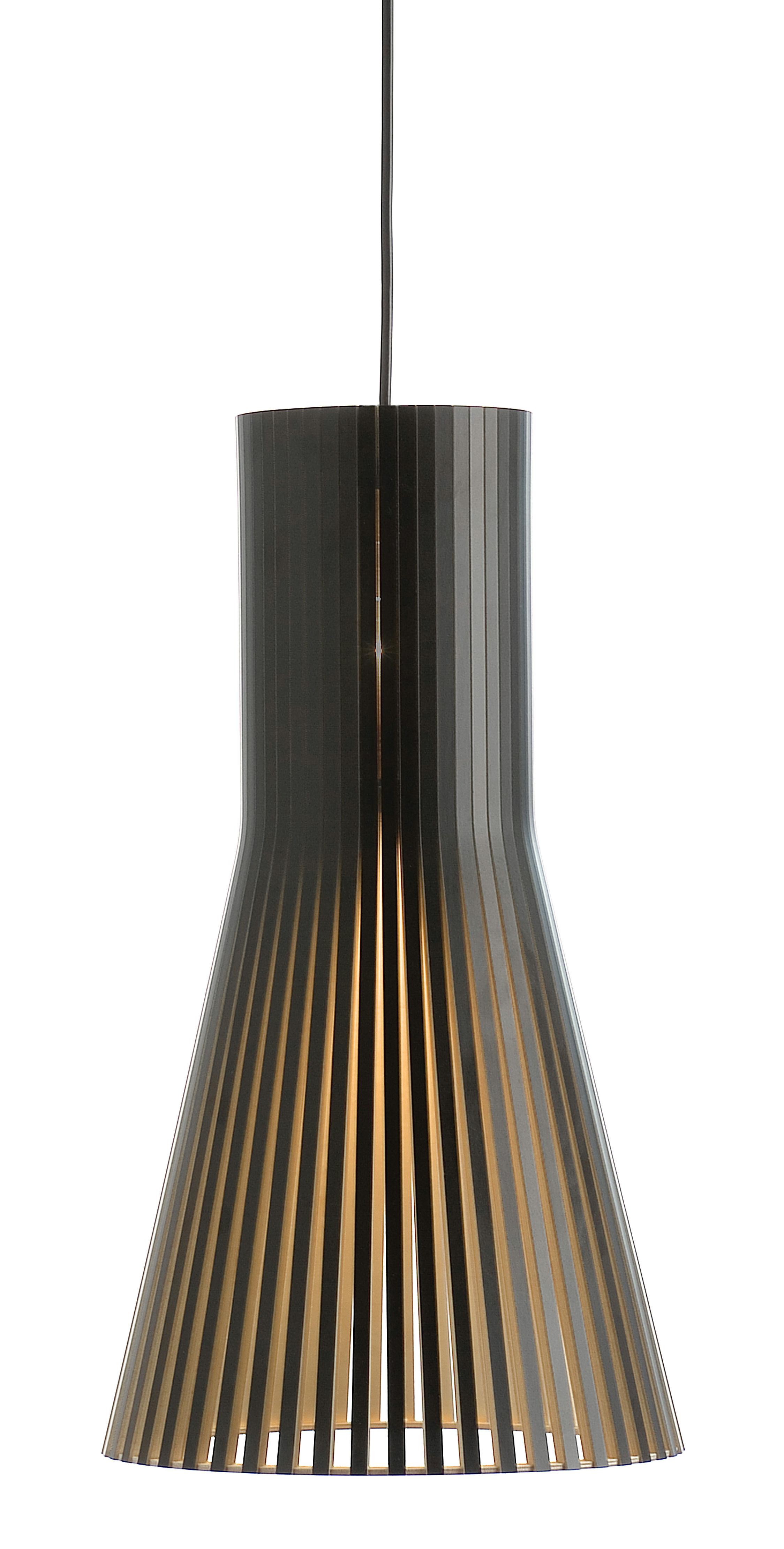 Illuminazione - Lampadari - Sospensione Secto S - / Ø 25 cm di Secto Design - Nero / Cavo nero - Lattes de laminé de bouleau, Tessuto