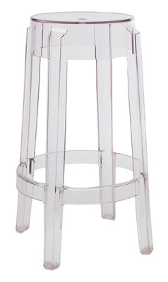 Furniture - Bar Stools - Charles Ghost Stackable bar stool - H 65 cm - Plastic by Kartell - Cristal - Polycarbonate