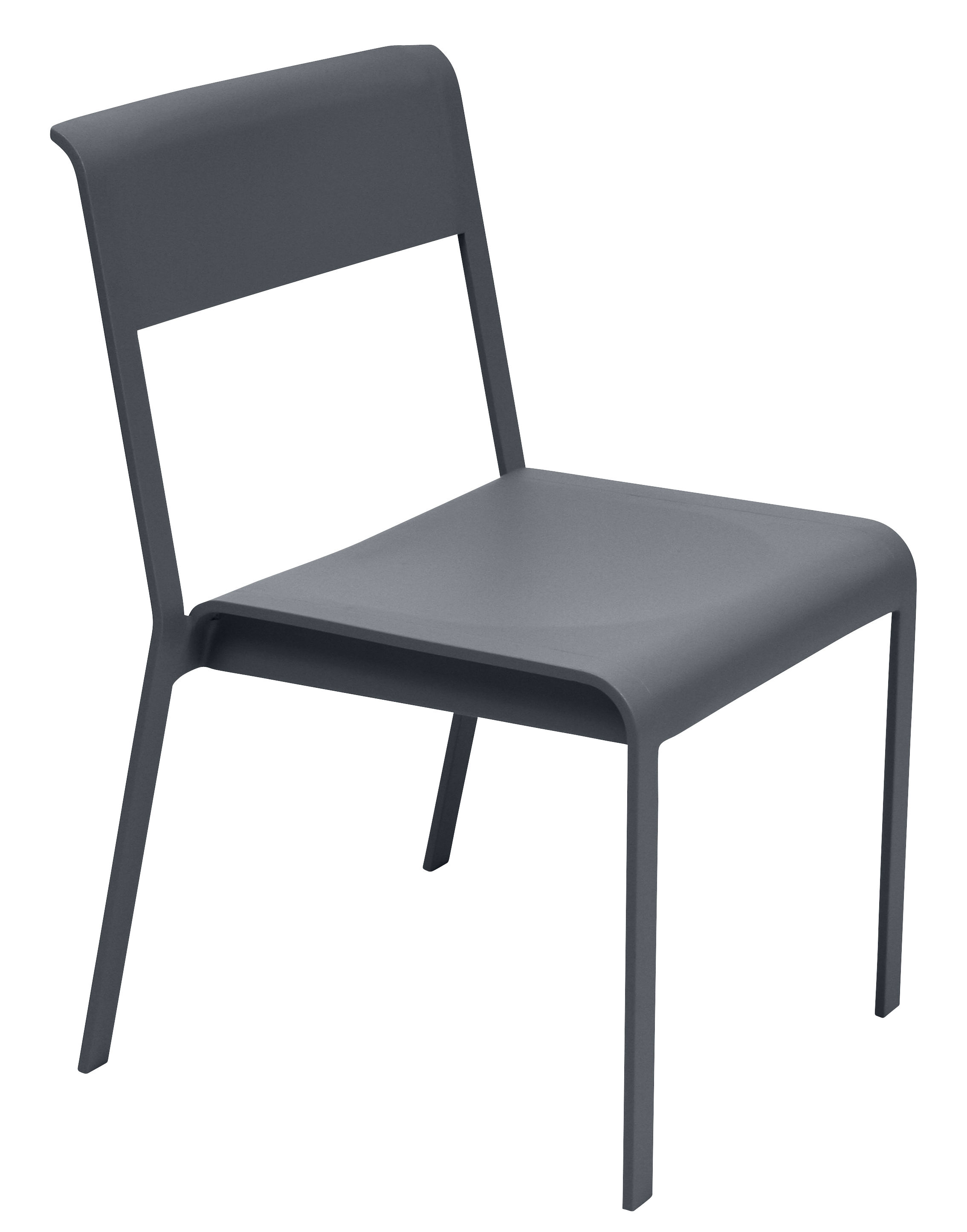Furniture - Chairs - Bellevie Stacking chair - Metal by Fermob - Anthracite - Lacquered aluminium