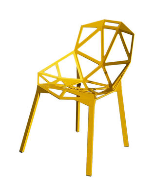 Furniture - Chairs - Chair One Stacking chair - Metal by Magis - Yellow - Varnished aluminium, Varnished cast aluminium