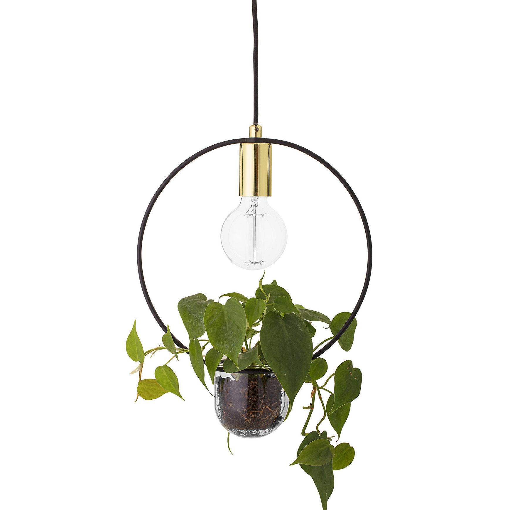 Luminaire - Suspensions - Suspension / Avec pot de fleurs - Ø 30 cm - Bloomingville - Ronde / Or & noir - Métal, Verre