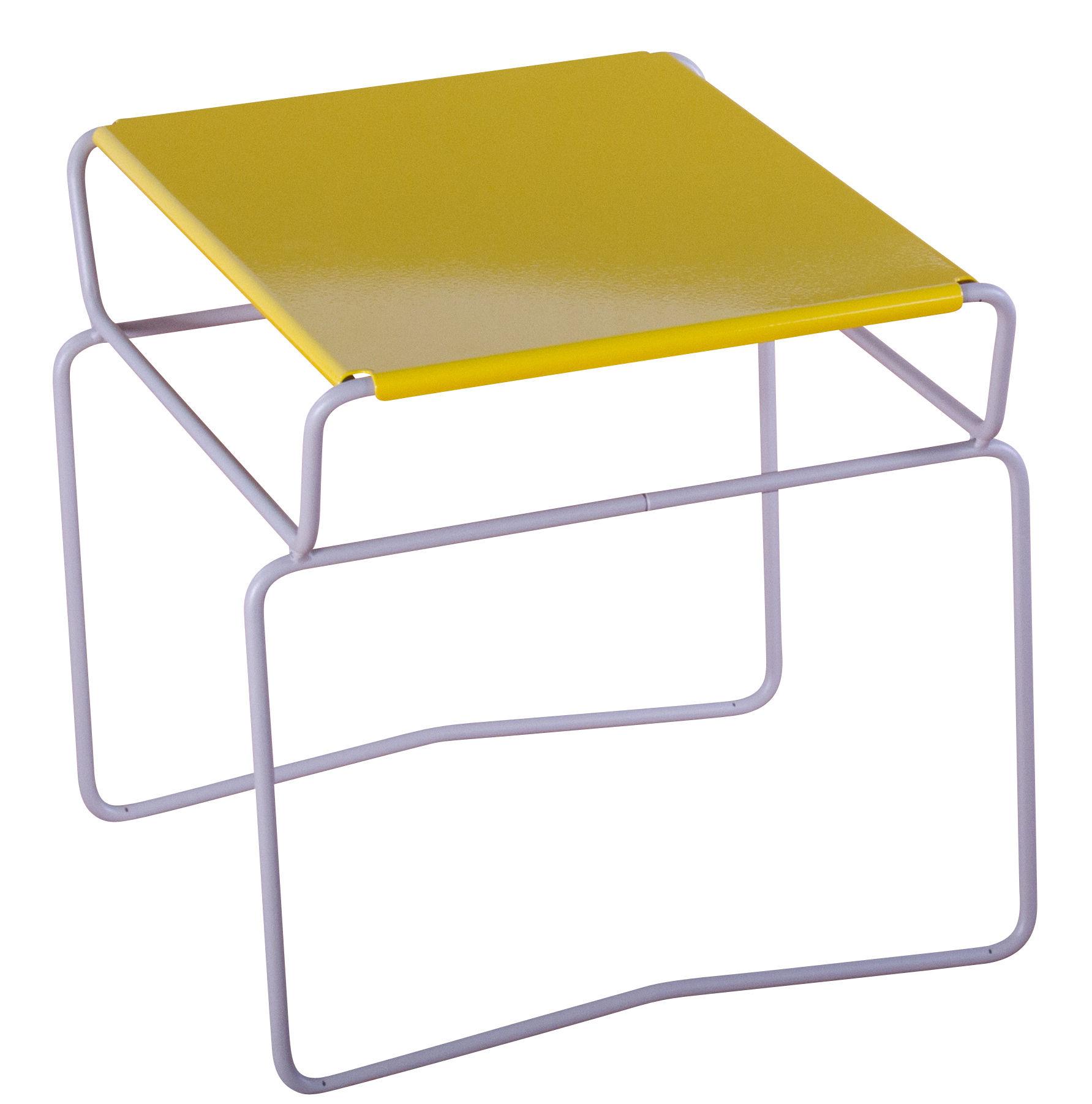 Table Basse Fil Confort 46 X 41 Cm Plateau Jaune Structure Grise