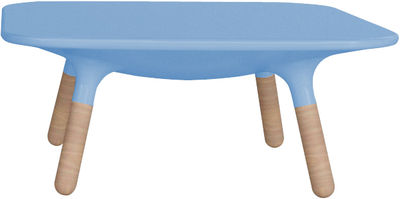 Mobilier - Tables basses - Table basse Marguerite / H 30 cm - Stamp Edition - Bleu orage - Iroko, Polyéthylène