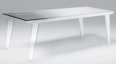 Table rectangulaire Faint / 230 x 90 cm - Glas Italia blanc,fumé en verre