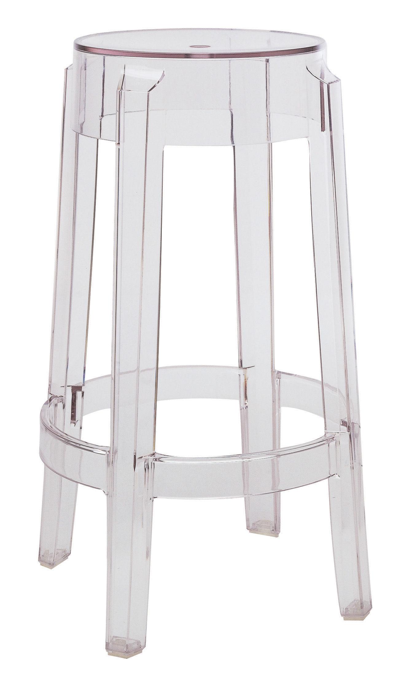Mobilier - Tabourets de bar - Tabouret haut empilable Charles Ghost / H 65 cm - Plastique - Kartell - Cristal - Polycarbonate