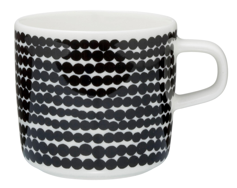 Arts de la table - Tasses et mugs - Tasse à café Siirtolapuutarha - Marimekko - Räsymatto / Noir & blanc - Porcelaine émaillée