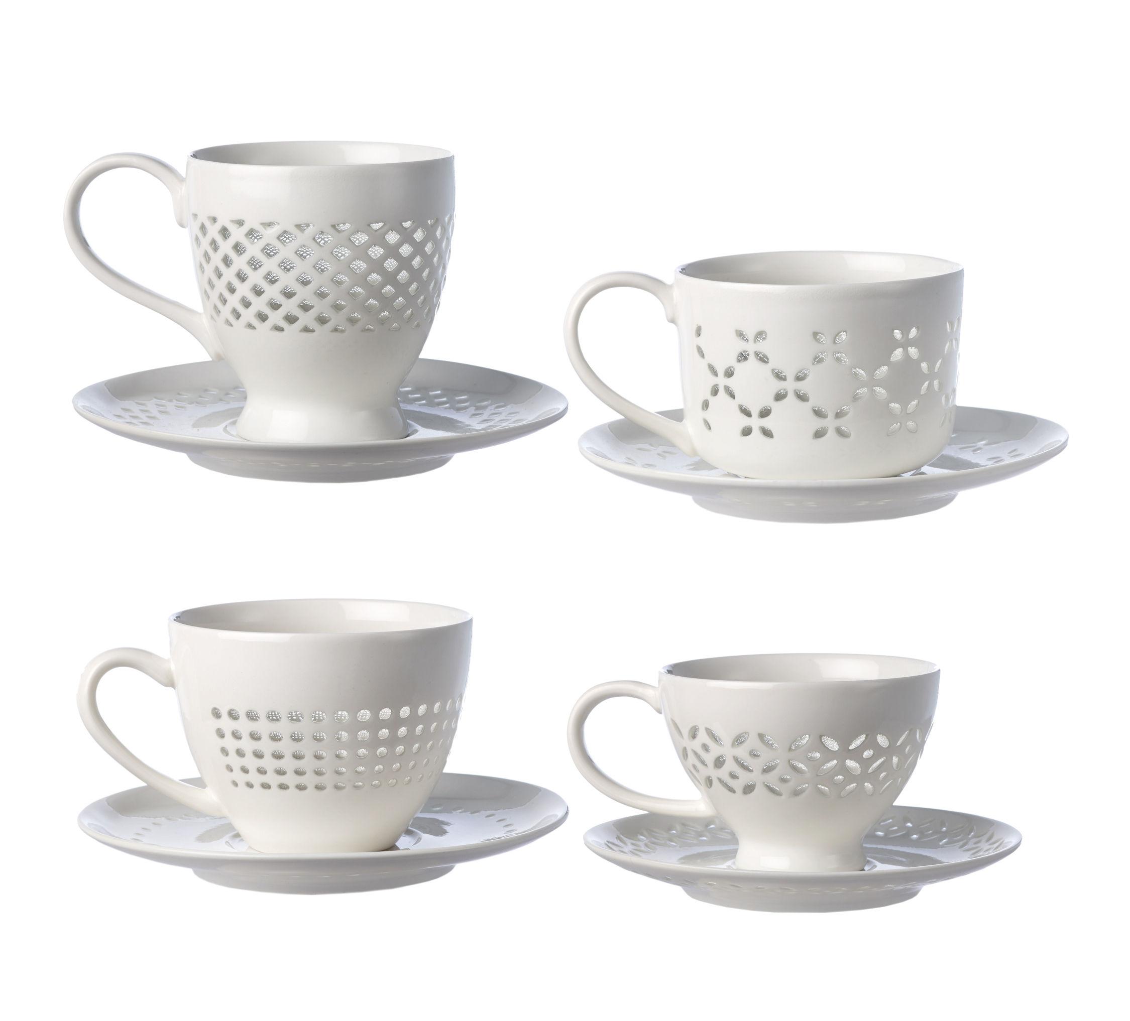 Arts de la table - Tasses et mugs - Tasse à thé Pierced / Set de 4 tasses et soucoupes - Pols Potten - Blanc - Porcelaine émaillée