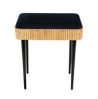 Arredamento - Tavolini  - Tavolino d'appoggio Riviera - / Rattan - Cassetto di Maison Sarah Lavoine - Nero / Rattan naturale - Legno laccato, Rattan naturale