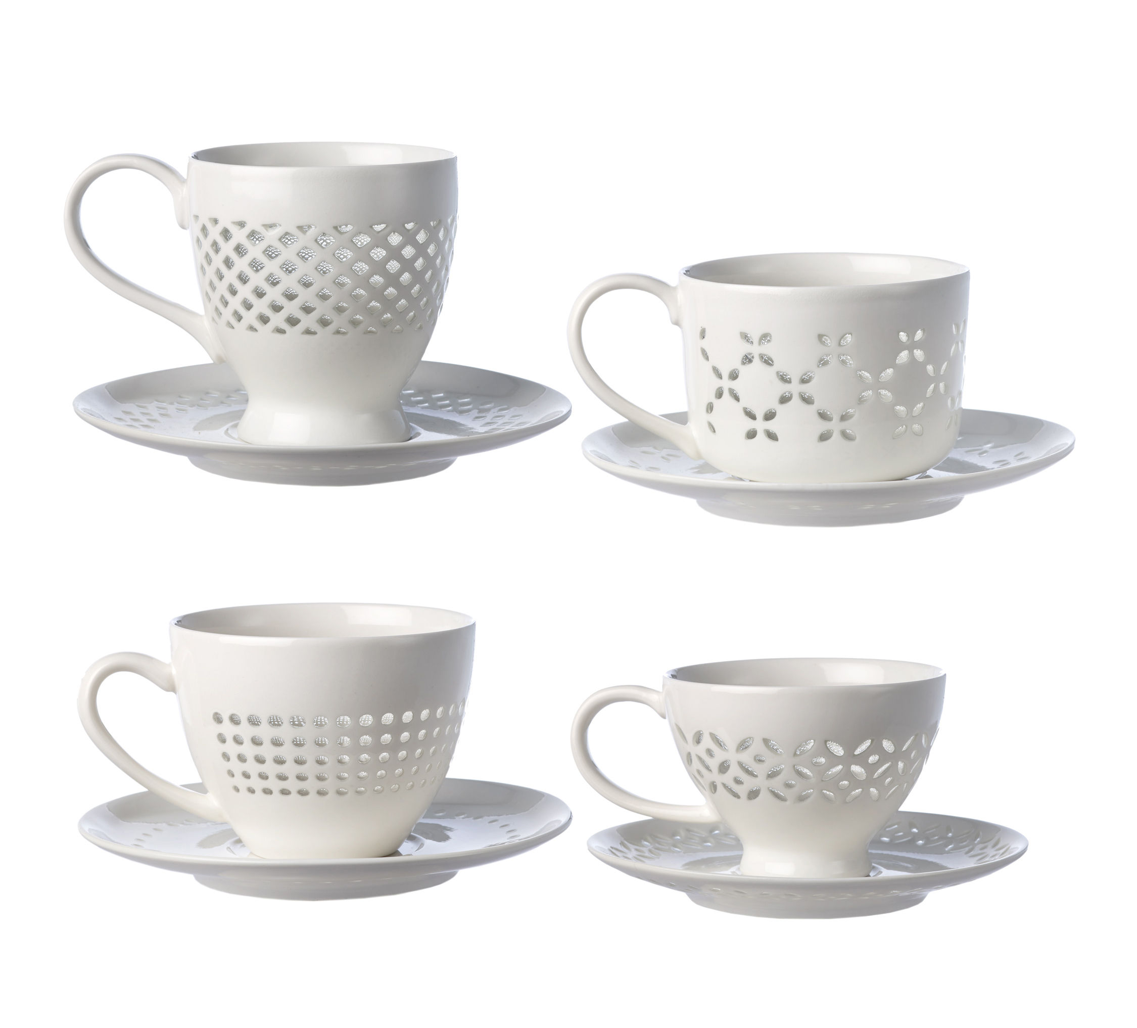 Tableware - Coffee Mugs & Tea Cups - Pierced Teacup - / Set of 4 cups and saucers by Pols Potten - White - Enamelled china