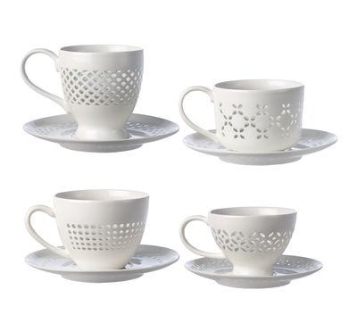 Tischkultur - Tassen und Becher - Pierced Teetasse / Set aus 4 Tassen + Untertassen - Pols Potten - Weiß - emailliertes Porzellan