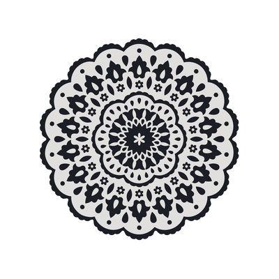 Black Bombay n°1 Teppich / Ø 99 cm - Vinyl - PÔDEVACHE - Weiß,Schwarz