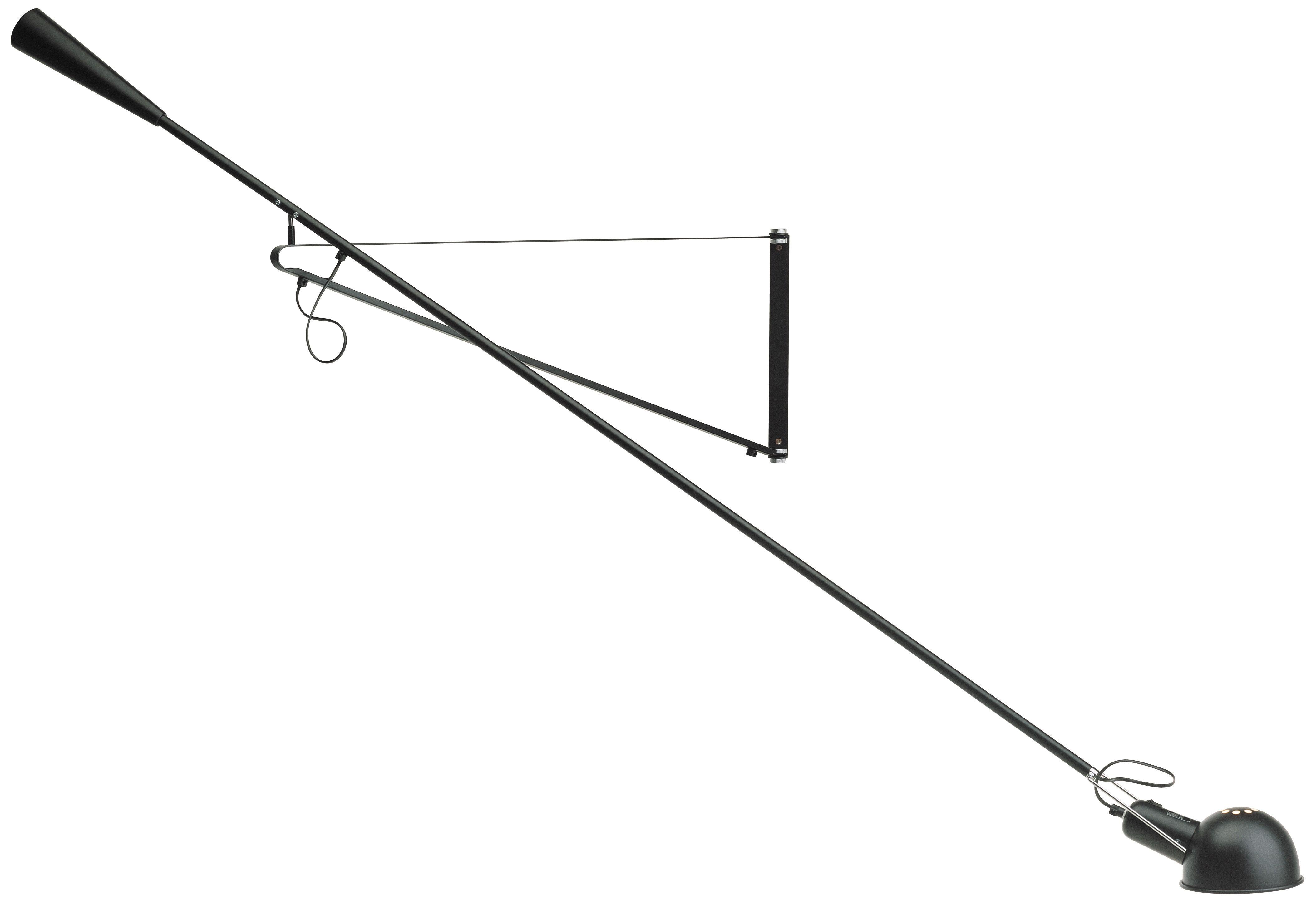 Leuchten - Wandleuchten - 265 Wandleuchte mit Stromkabel / L 205 cm - basiert auf dem Original von 1973 - Flos - Schwarz - Gusseisen, Messing, Stahl