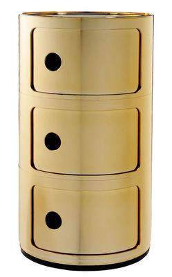 Möbel - Aufbewahrungsmöbel - Componibili Ablage / 3 Schubladen - metallic - Kartell - Goldfarben - ABS