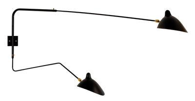 Applique 2 bras pivotants / 1953 - Serge Mouille noir en métal