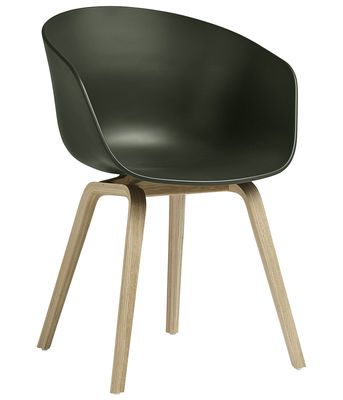 Furniture - Chairs - About a chair AAC22 Armchair - / Plastic & wood legs by Hay - Green / Natural wood - Natural oak, Polypropylene