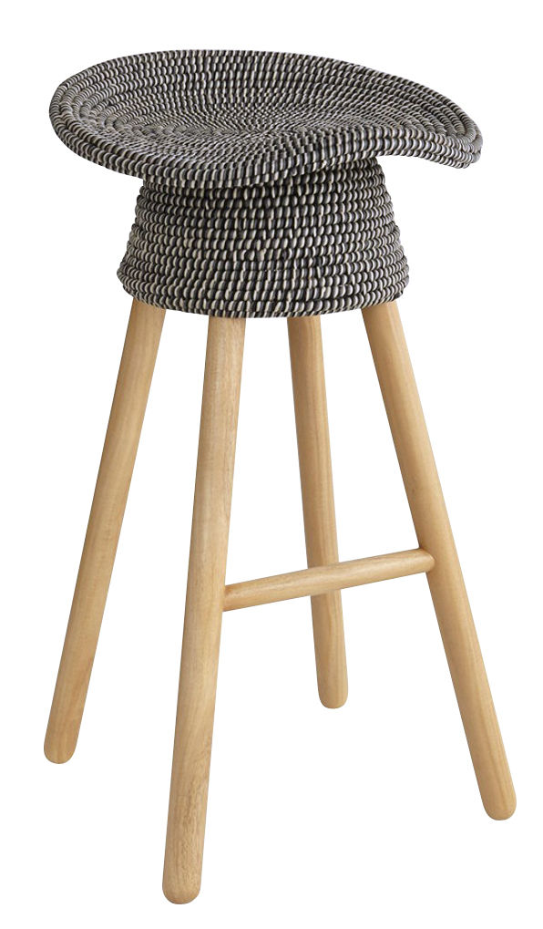 Furniture - Bar Stools - Coiled Bar stool - H 72 cm by Umbra Shift - Grey / Natural wood - Gmelina wood, Polypropylen wire, Rattan, Steel