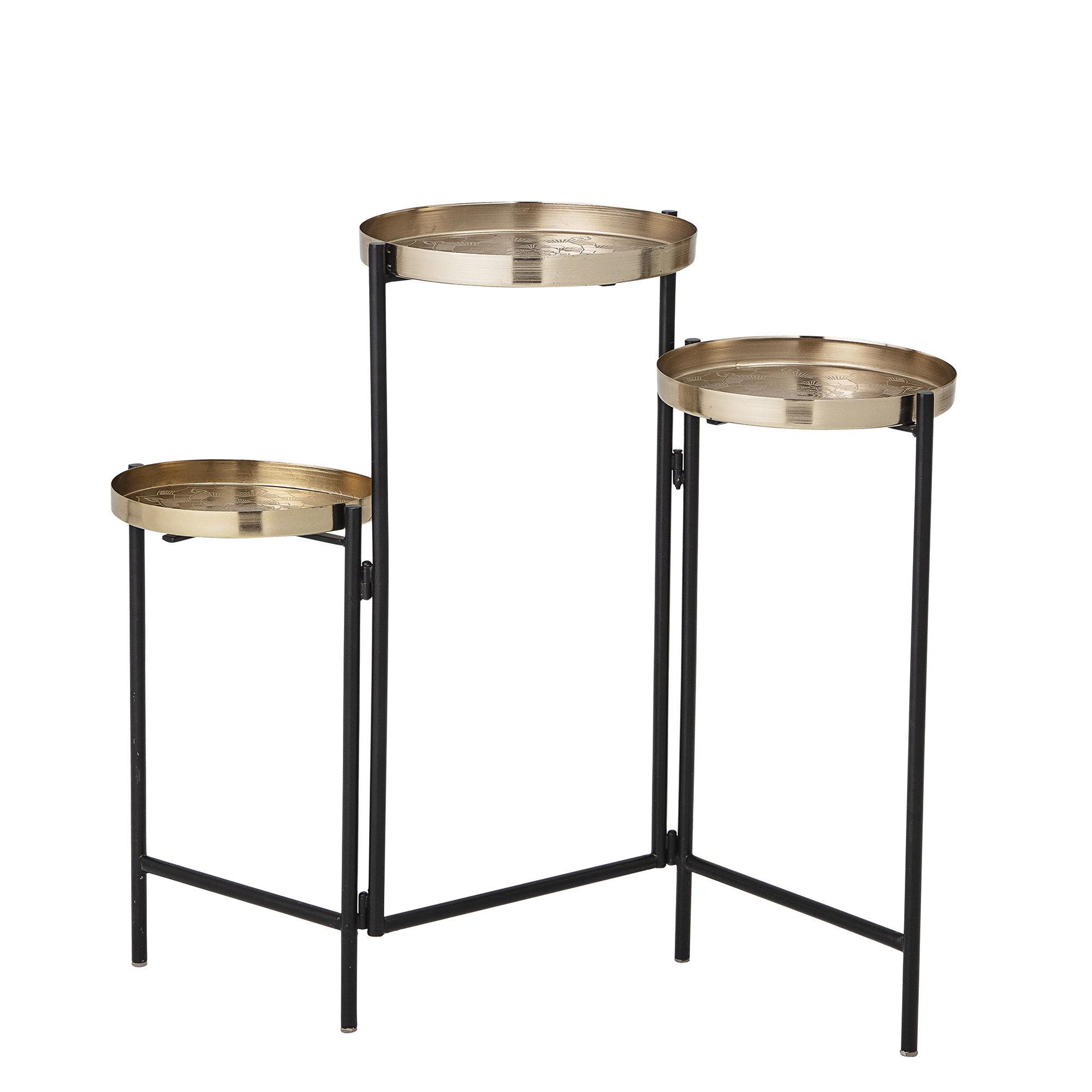 Möbel - Couchtische - Amie Beistelltisch / 3 plateaux articulés - Bloomingville - Or & noir - Eisen