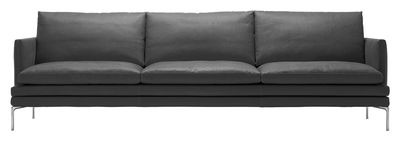Mobilier - Canapés - Canapé droit William / Tissu - 3 places - L 266 cm - Zanotta - Gris anthracite - Aluminium poli, Tissu