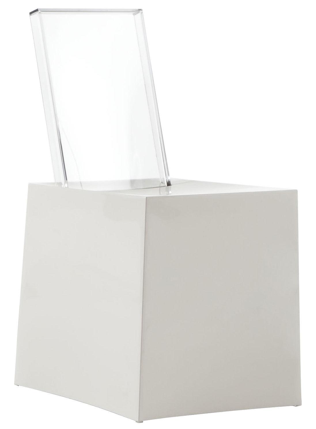 Mobilier - Chaises, fauteuils de salle à manger - Chaise Miss Less / Plastique - Dossier transparent - Kartell - Assise blanche / Dossier cristal - Polycarbonate, Technopolymère