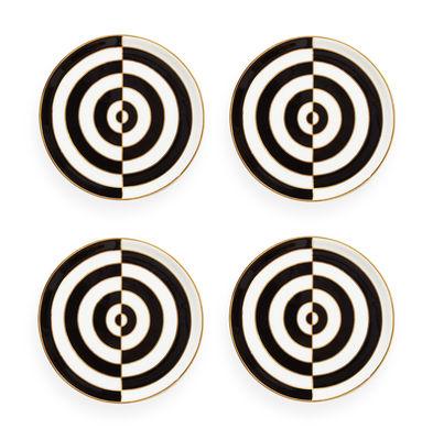 Dessous de verre Op Art / Set de 4 - Porcelaine & or 24 carats - Jonathan Adler blanc,noir,or en céramique