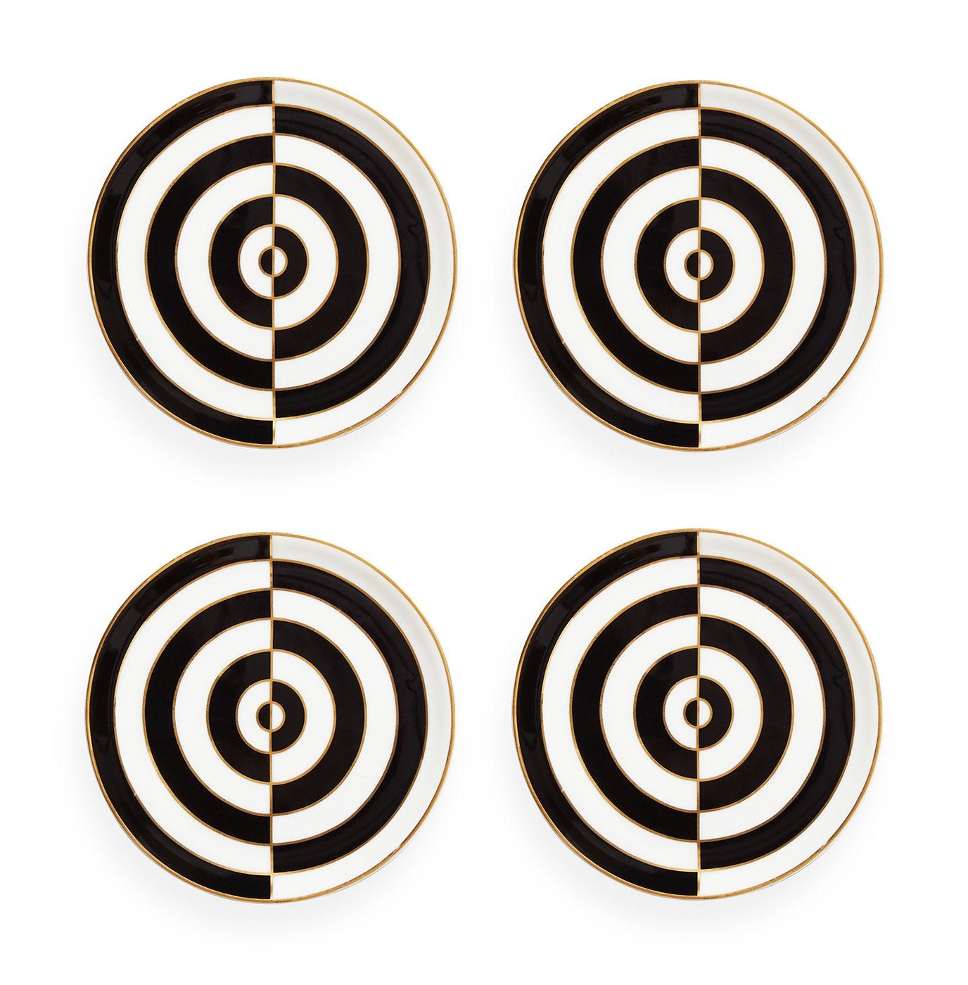 Arts de la table - Dessous de plat - Dessous de verre Op Art / Set de 4 - Porcelaine & or 24 carats - Jonathan Adler - Op Art / Noir, blanc & or - Porcelaine - Liserés : or fin 24 Carats