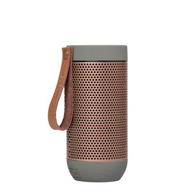 Noël design - Cadeaux à petits prix - Enceinte Bluetooth aFUNK / Portable sans fil - Kreafunk - Gris clair  / or rosé - Aluminium, Cuir, Matière plastique