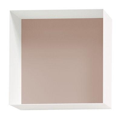 Mobilier - Etagères & bibliothèques - Etagère Alma / Module 40 x 40 - Prof 20 cm - Panneau arrière peint - Casamania - 40 x 40 cm - Blanc / Panneau beige - Métal verni