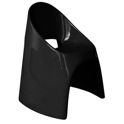 Fauteuil empilable Amélie / Plastique laqué - Slide laqué noir en matière plastique