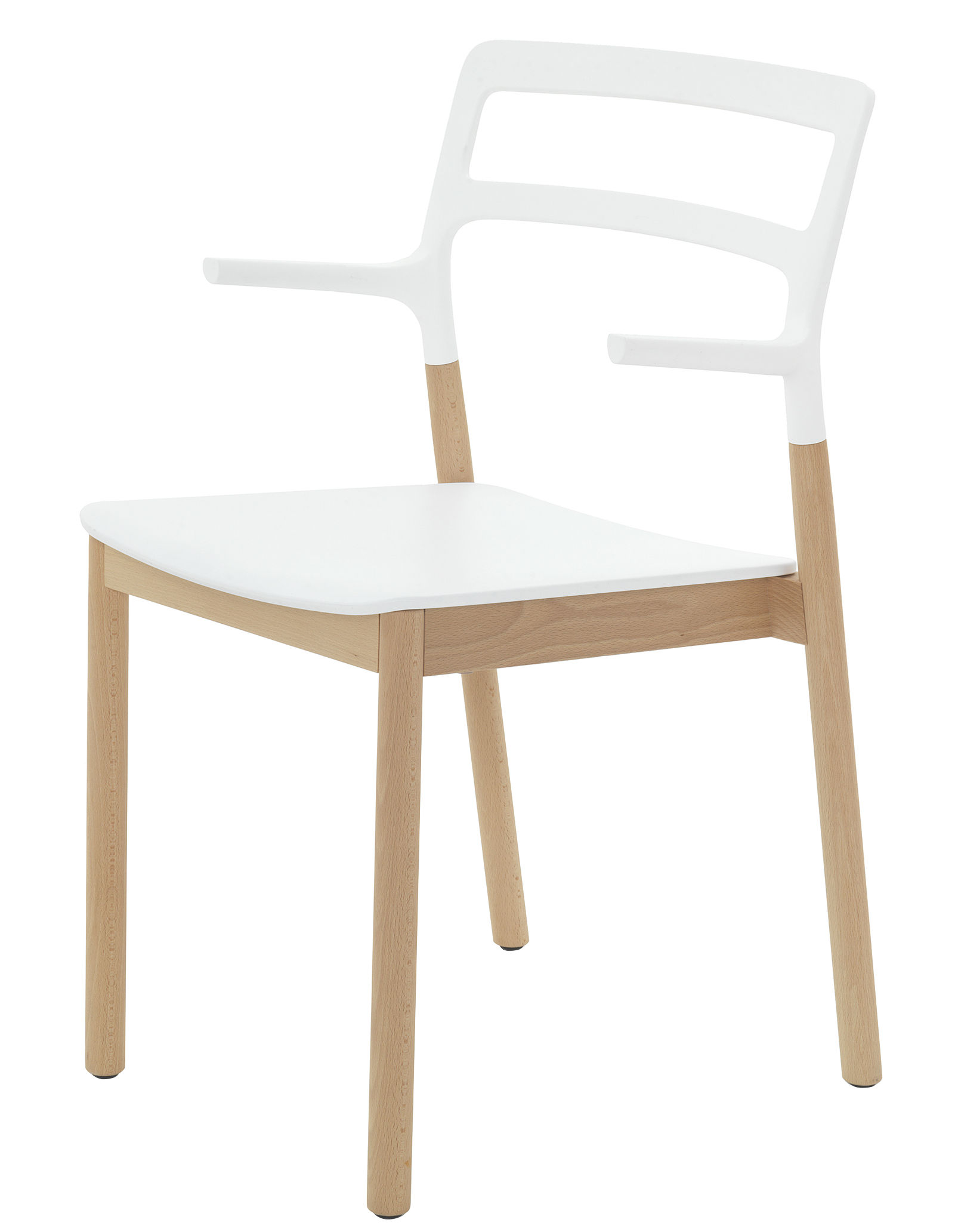 Mobilier - Chaises, fauteuils de salle à manger - Fauteuil empilable Florinda / Bois et plastique - De Padova - Blanc - Hêtre naturel, Matériau plastique