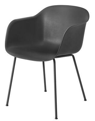 Chaise Fiber Pieds métal Muuto noir en métal