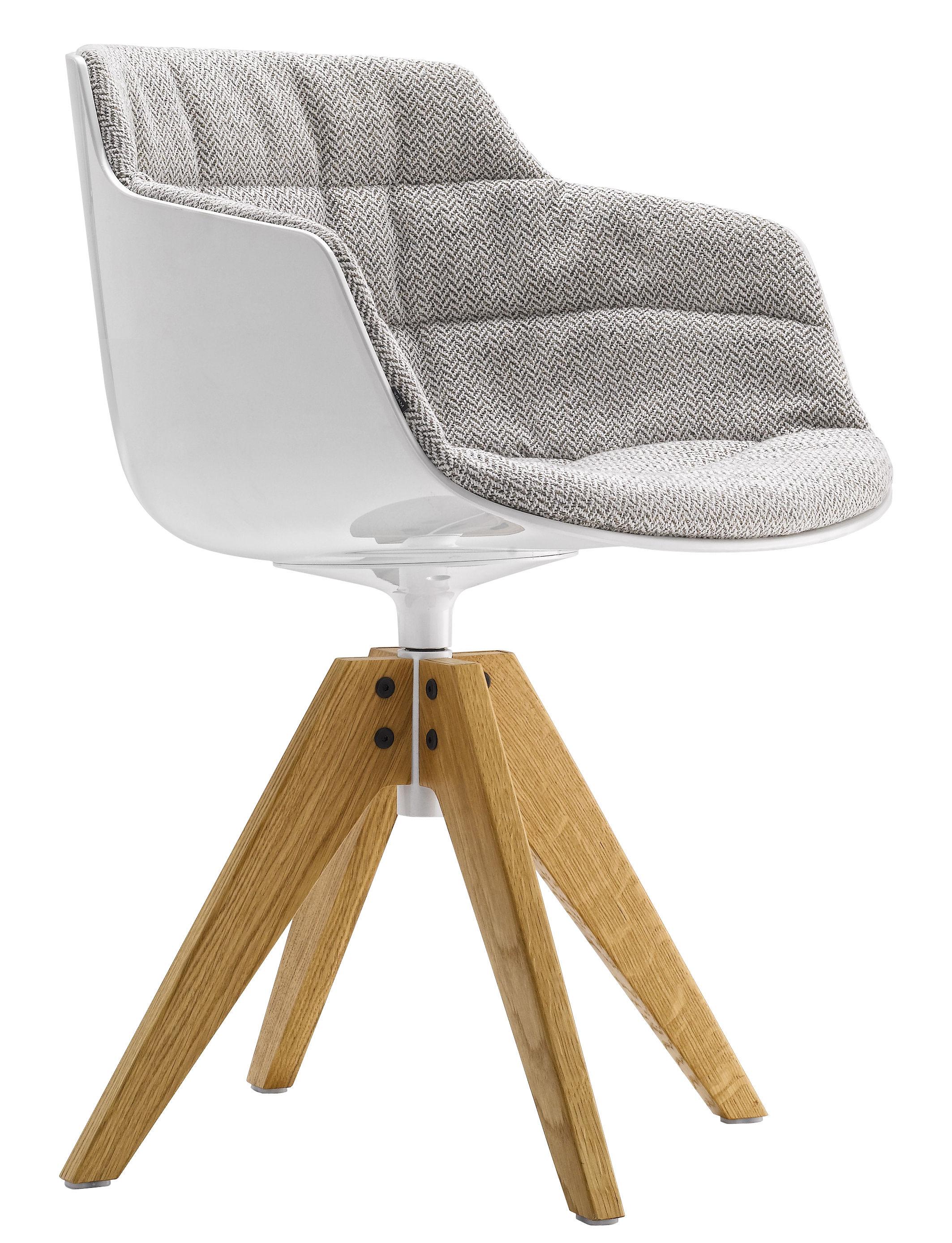 Mobilier - Chaises, fauteuils de salle à manger - Fauteuil pivotant Flow Slim / Rembourré - 4 pieds VN chêne - MDF Italia - Tissu gris clair / Pieds chêne - Aluminium laqué, Polycarbonate, Tissu