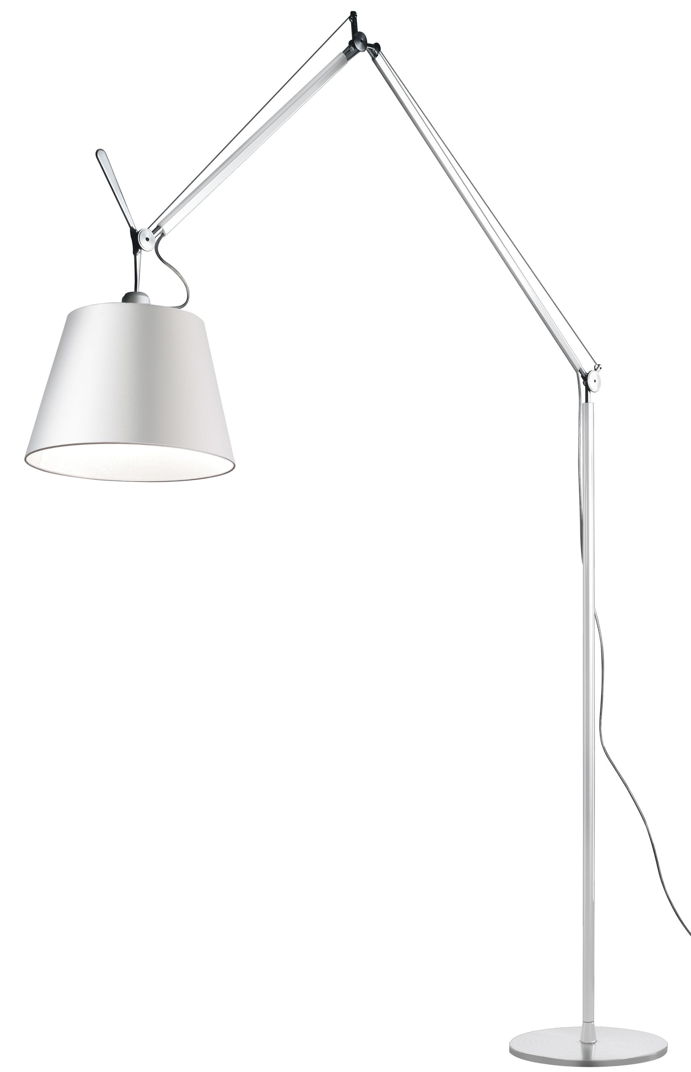 Lighting - Floor lamps - Tolomeo Mega Floor lamp - H 148  to 327 cm by Artemide - White / White leg - Aluminium, Fabric