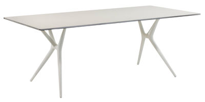 Furniture - Teen furniture - Spoon Foldable table - 140 x 70 cm by Kartell - White / white feet - Laminated finish aluminium, Technopolymer