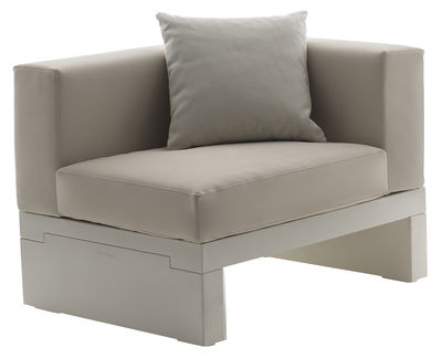 Möbel - Lounge Sessel - Bellini Hour Gepolsterter Sessel Armlehne links - Serralunga - Gestell elfenbeinfarben / Kissen cremefarben - Gewebe, Polyäthylen