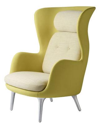 Möbel - Lounge Sessel - Ro Gepolsterter Sessel / mit Stoffbezug - Fritz Hansen - Dunkelgelb / blassgelb - gebürstetes Aluminium, Gewebe, Polyurethan-Schaum, Polyurhethan