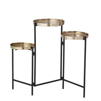 Mobilier - Tables basses - Guéridon Amie / 3 plateaux articulés - Bloomingville - Or & noir - Fer